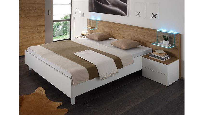 Bettanlage TAMBURA Weiß Lack und Eiche Natur 180x200 cm