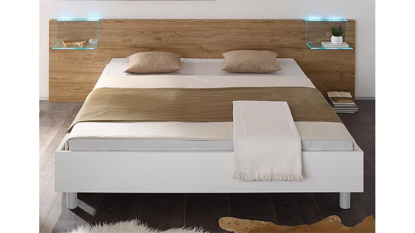 Bettanlage 2 TAMBURA Weiß Lack und Eiche Natur 180x200 cm
