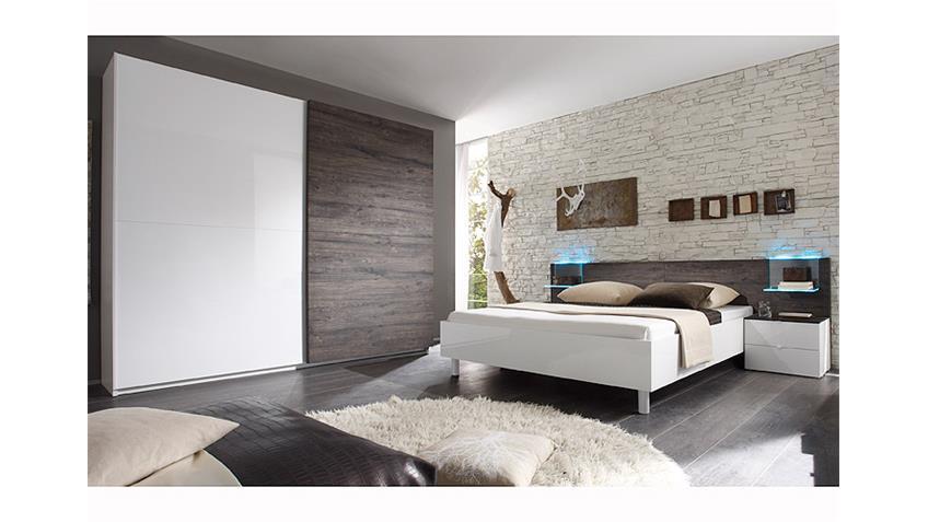 Schlafzimmer-Set TAMBURA Weiß Lack und Eiche Wenge