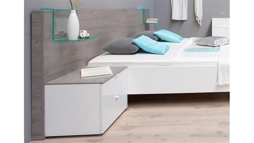 Schlafzimmer-Set TAMBURA Weiß Lack und Eiche Grau