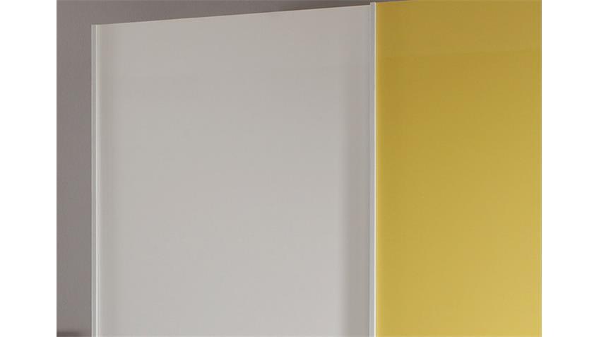 Schwebetürenschrank SMART Weiß und Gelb Hochglanz B 179 cm