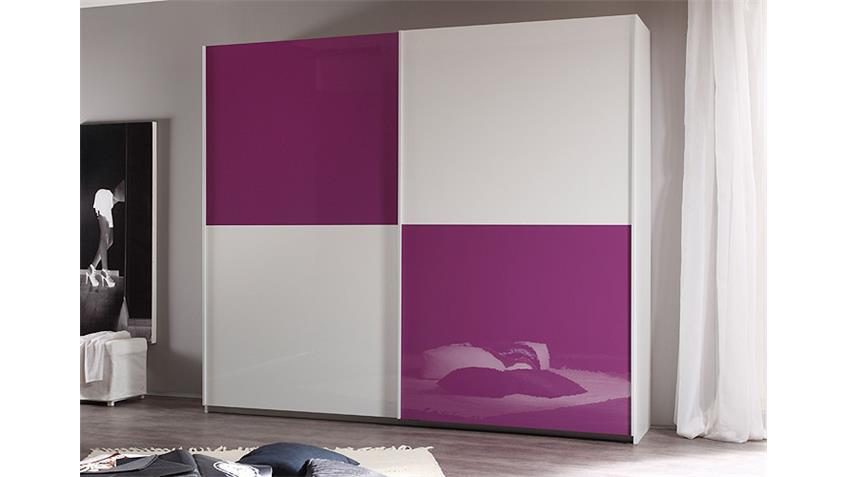Schwebetürenschrank SMART Weiß und Lila Hochglanz B 240 cm
