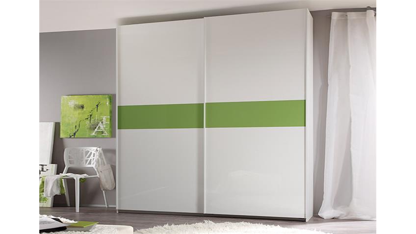 Schwebetürenschrank SMART Weiß und Kiwi Grün Hochglanz