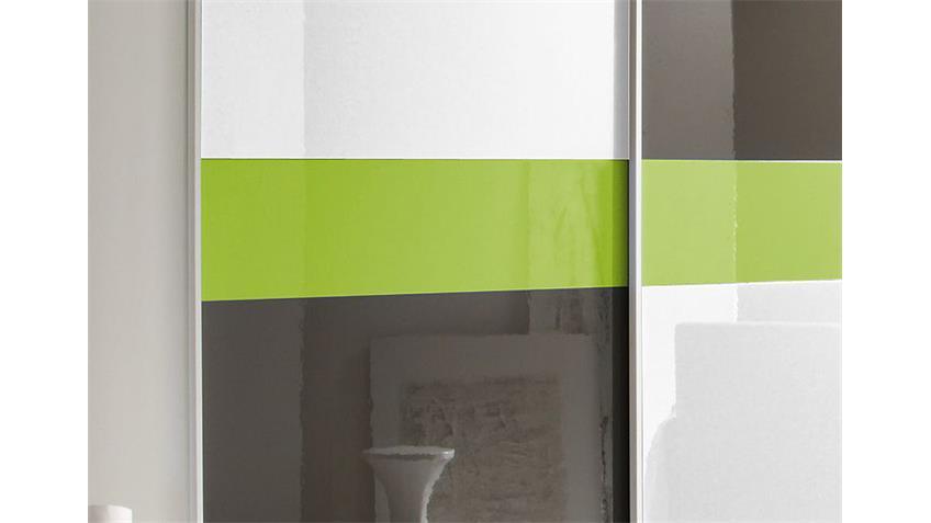 Schwebetürenschrank SMART Anthrazit Weiß Grün Hochglanz