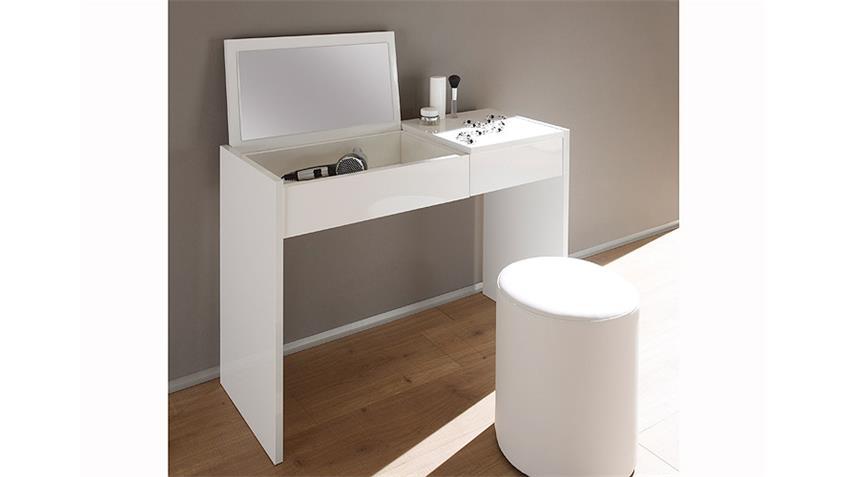 Schminktisch Schreibtisch PONTE Weiß Hochglanz lackiert