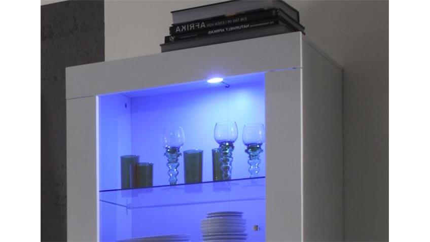 Hochschrank Vitrine AMALFI weiß echt hochglanz mit Glastür