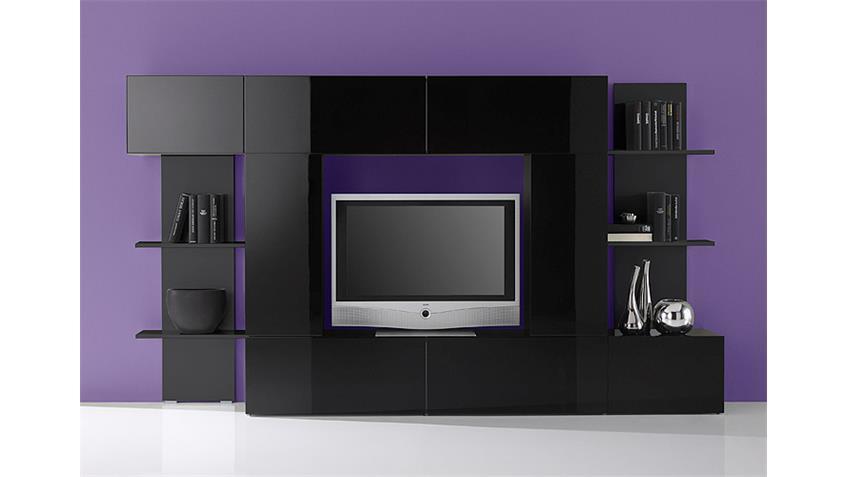 Wohnwand CUBO schwarz hochglanz lackiert B 260 cm