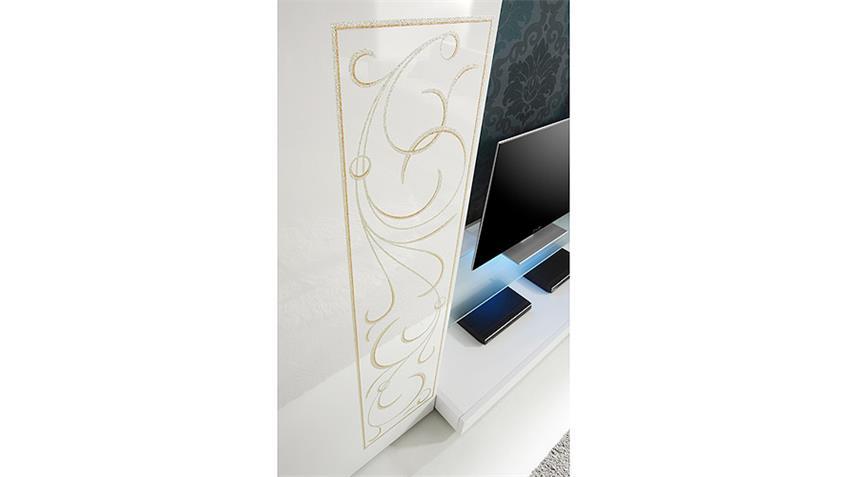 Wohnwand PADUA weiß Hochglanz lackiert mit Siebdruck