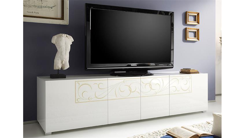 TV-Element PADUA weiß Hochglanz lackiert mit Siebdruck