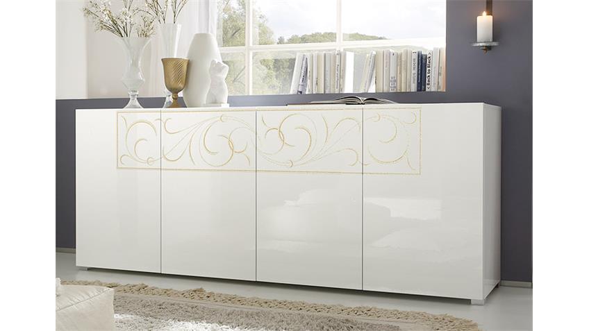 Sideboard PADUA weiß Hochglanz lackiert mit Siebdruck
