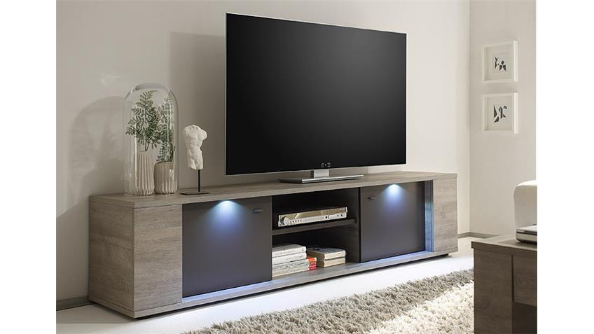 TV-Element SIDNEY Eiche Grau und Anthrazit matt inkl. LED 190 cm
