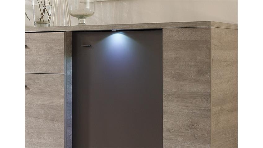 Sideboard SIDNEY Eiche Grau und Anthrazit matt inkl. LED