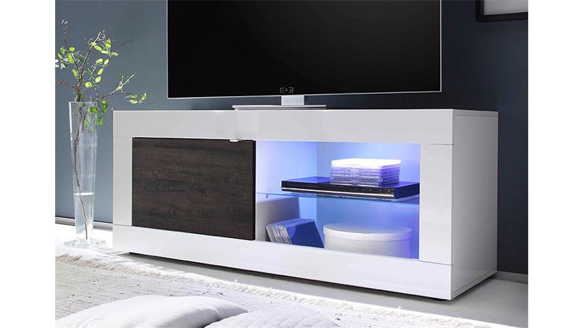 TV-Element BASIC Weiß lackiert und Eiche Wenge B 140 cm