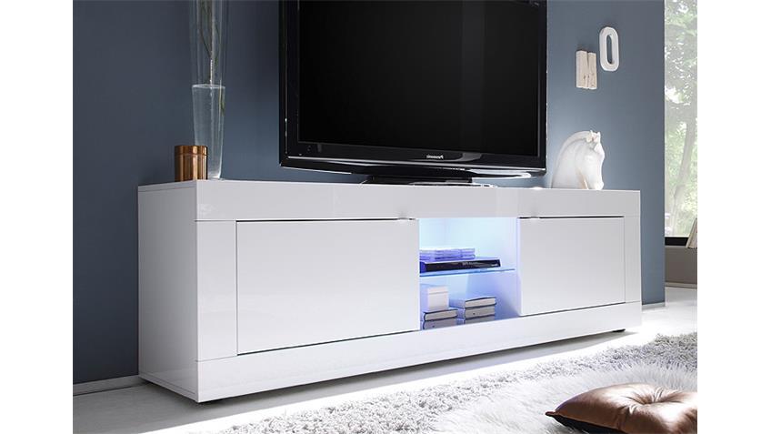 TV-Element BASIC Weiß lackiert B 181 cm 2 Türen 2 Fächer