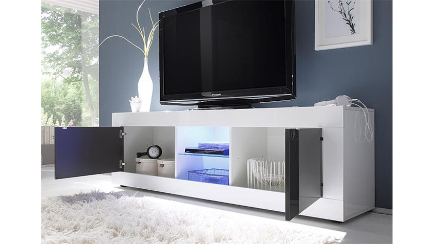 TV-Element BASIC Weiß und Anthrazit lackiert B 181 cm