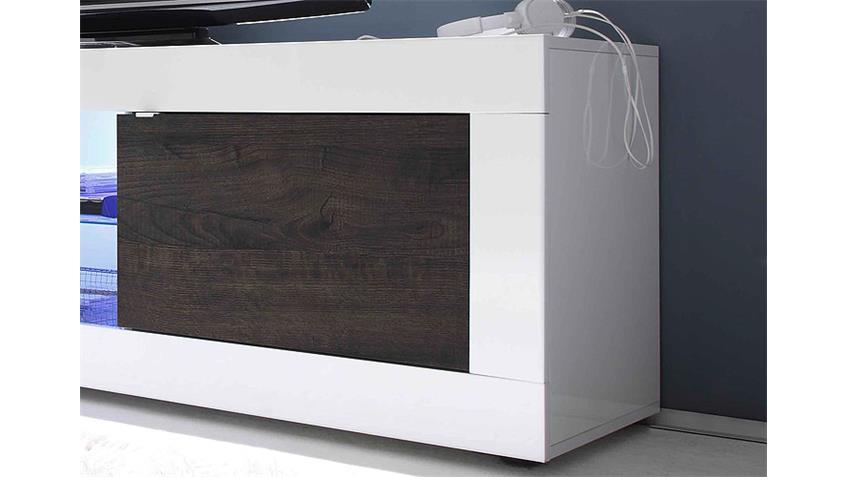 TV-Element BASIC Weiß lackiert und Eiche Wenge B 181 cm
