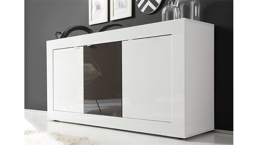 Sideboard BASIC Weiß und Anthrazit lackiert B 160 cm