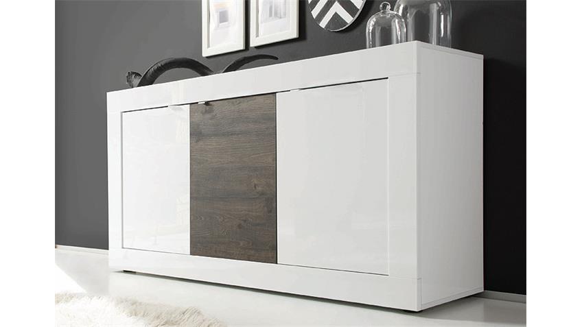 Sideboard BASIC Weiß lackiert und Eiche  Wenge B 160 cm