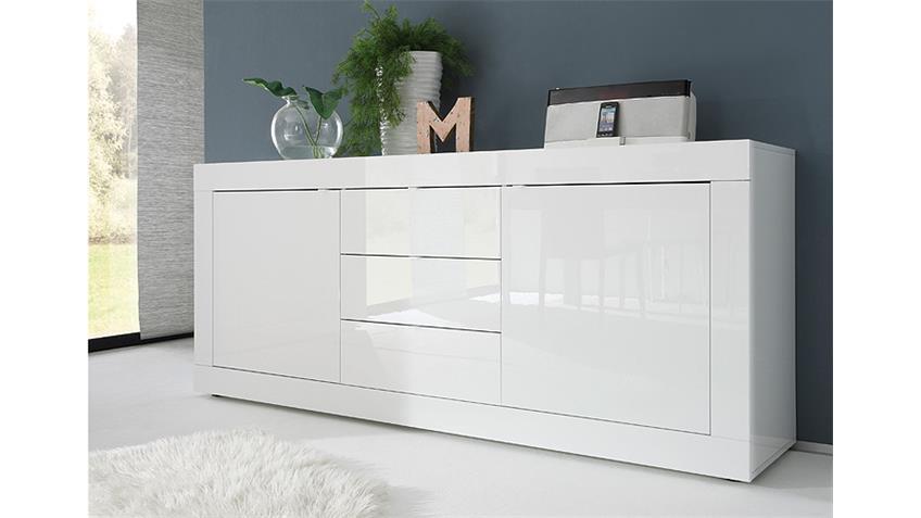Sideboard BASIC Kommode Weiß lackiert B 210 cm