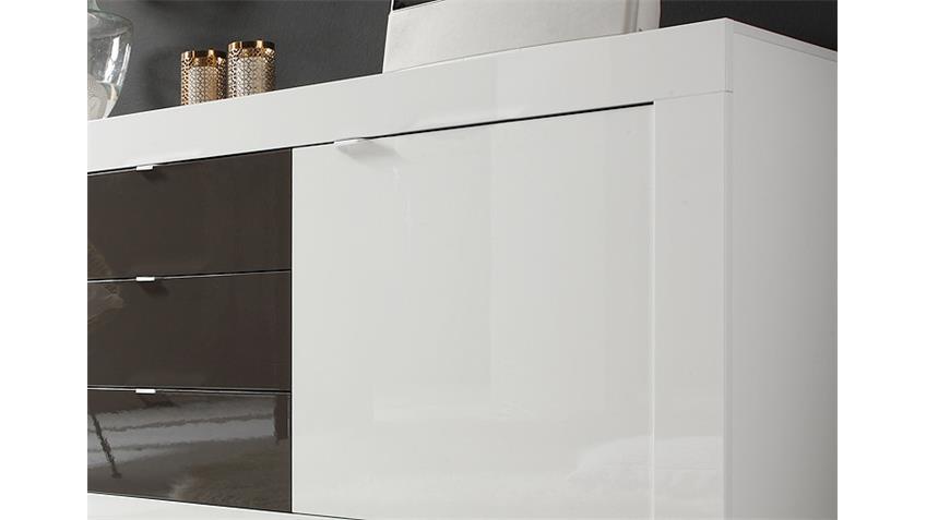 Sideboard BASIC Weiß und Anthrazit lackiert B 210 cm