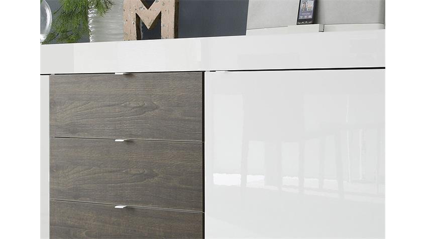Sideboard BASIC Weiß und Eiche Wenge lackiert B 210 cm