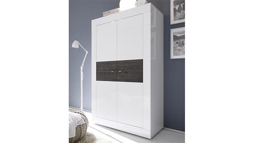 Highboard BASIC Sideboard Weiß lackiert und Eiche Wenge