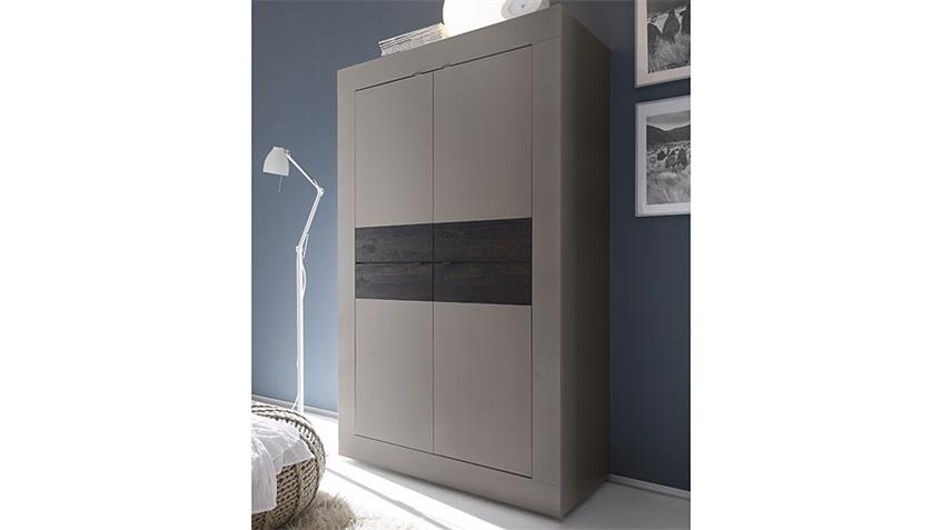 Highboard BASIC Sideboard in Beige matt und Eiche Wenge