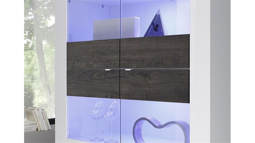 Vitrine BASIC breit Weiß lackiert Eiche Wenge mit 4 Türen