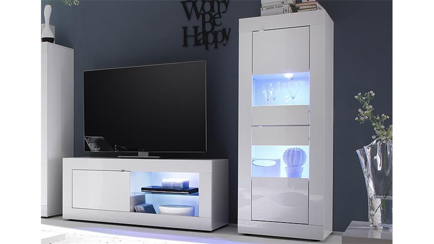 Wohnwand BASIC Anbauwand Weiß lackiert 3-Teilig