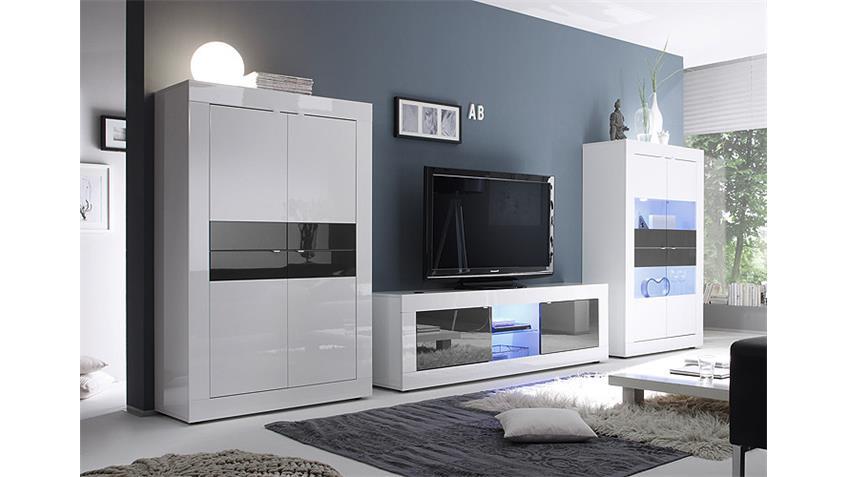 Wohnwand BASIC Anbauwand Weiß und Anthrazit lackiert