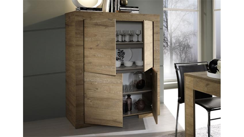 Highboard MILANO Kommode in Eiche Natur Breite 119 cm