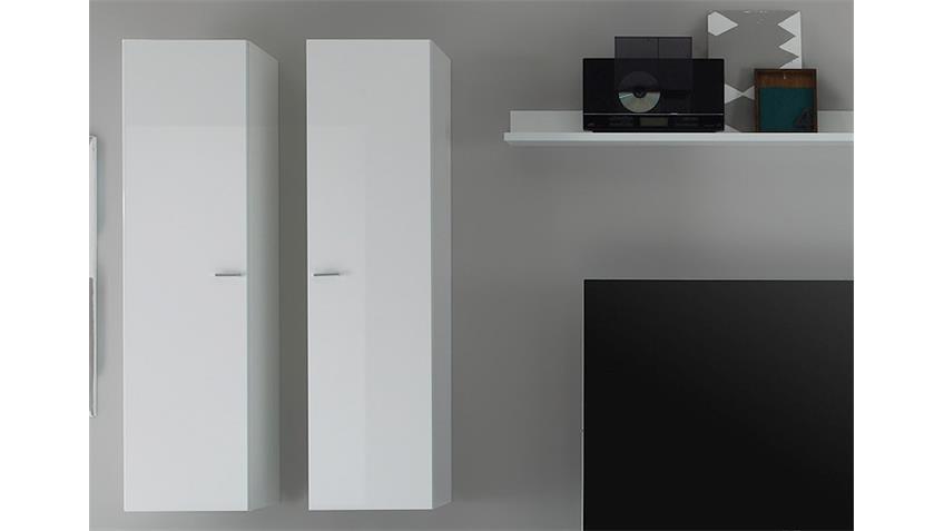 Wohnwand LINE Kombi 9 Weiß Lack und Eiche Natur 308 cm