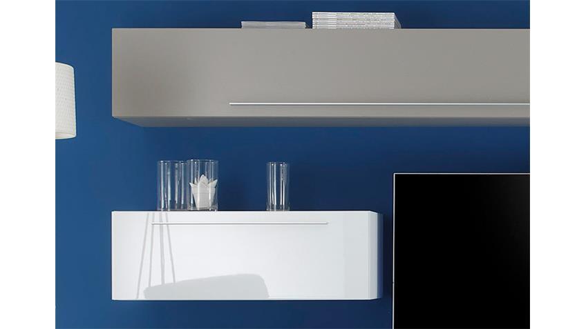 Wohnwand LINE Kombi 10 Weiß Lack und Beige matt 290 cm