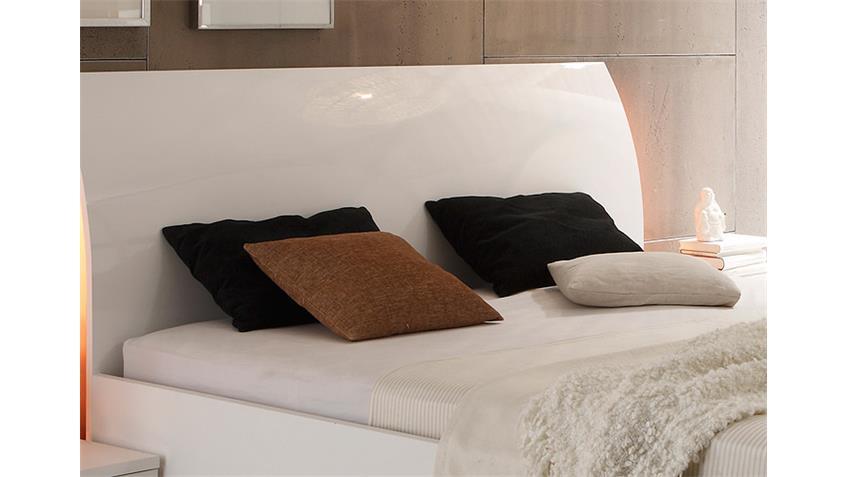Bett LIDIA Doppelbett Weiß Hochglanz lackiert 180x200 cm