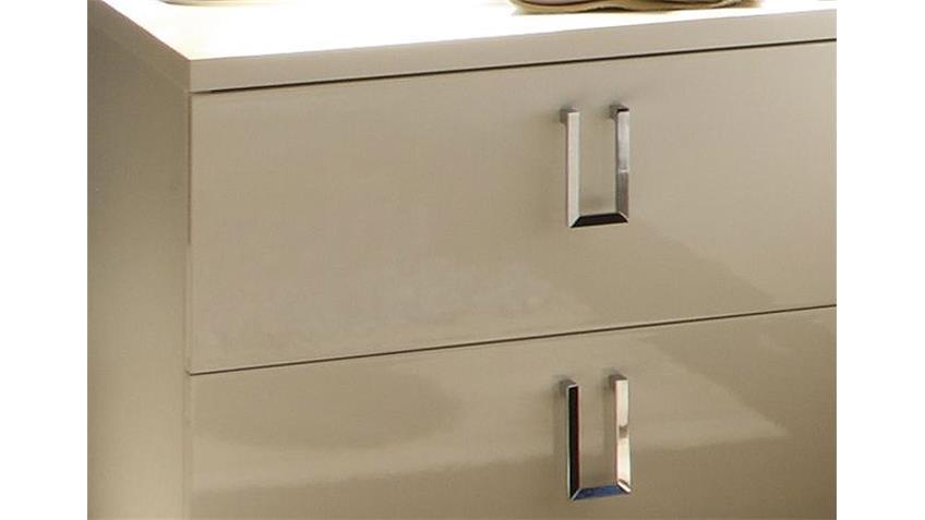 Nachtkommode LIDIA 2er Set Weiß Hochglanz lackiert H 43 cm