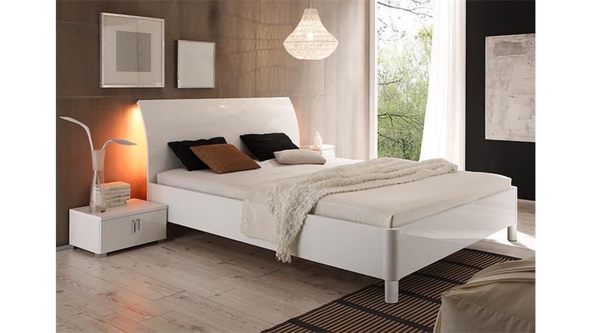 Schlafzimmer-Set 1 LIDIA Weiß Hochglanz lackiert 4-Teilig