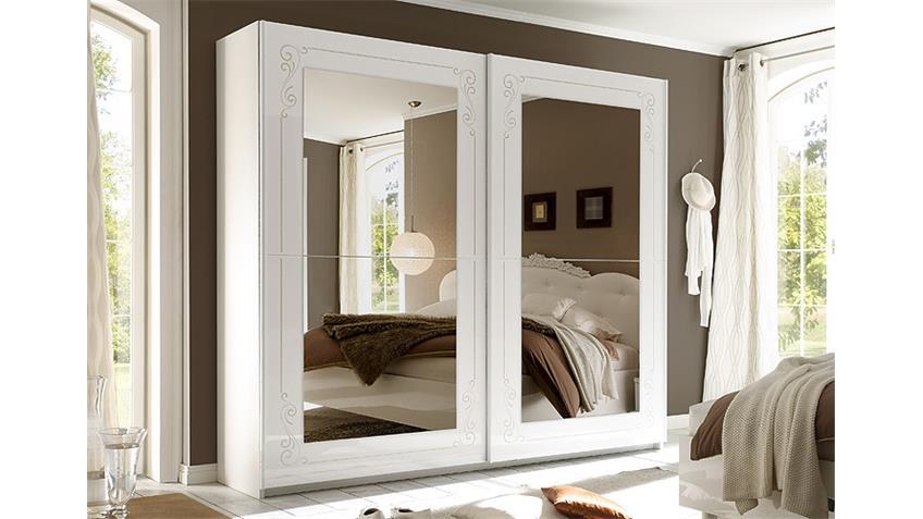 Schwebetürenschrank MUSA DEA Weiß Hochglanz Spiegel  240 cm