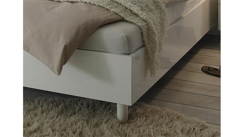 Bett MUSA Weiß Hochglanz mit Siebdruck 180x200 cm