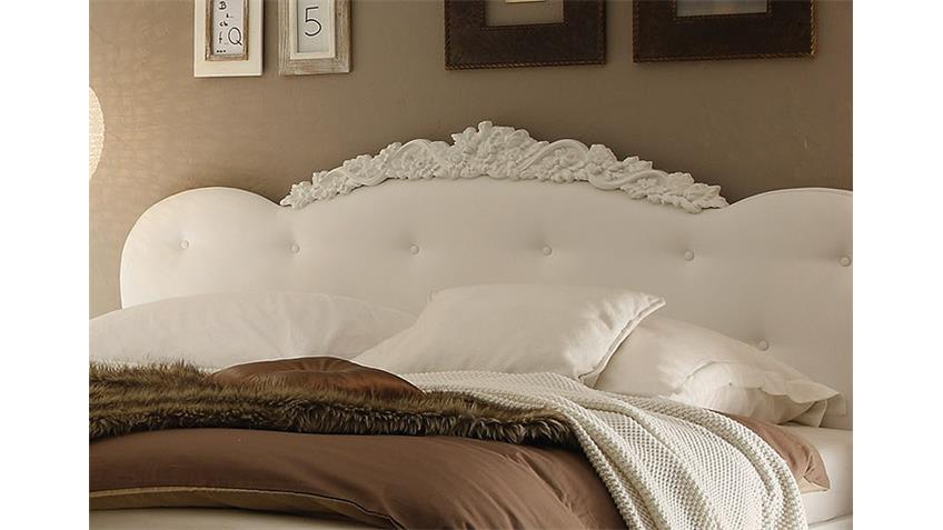 Bett DEA Weiß Hochglanz Kopfteil Lederlook Weiß 180x200 cm