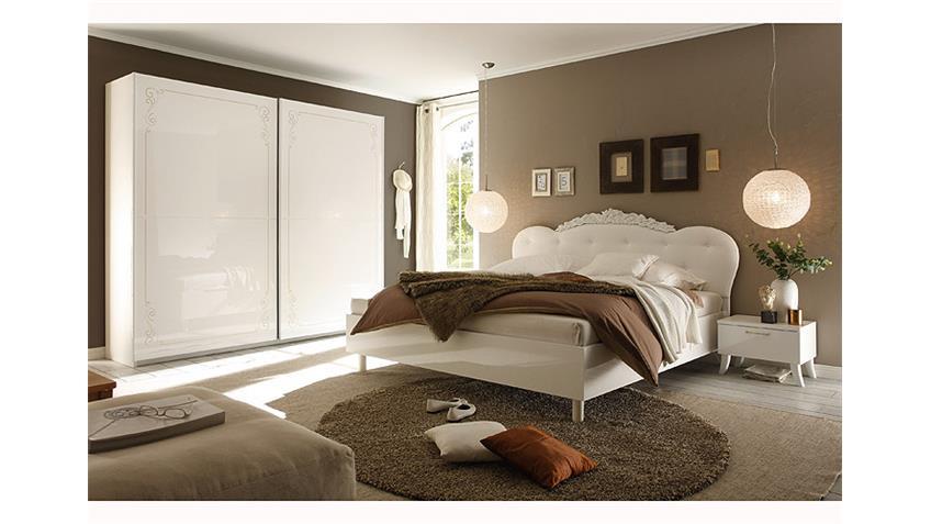 Schlafzimmer MUSA DEA Weiß Hochglanz mit Siebdruck