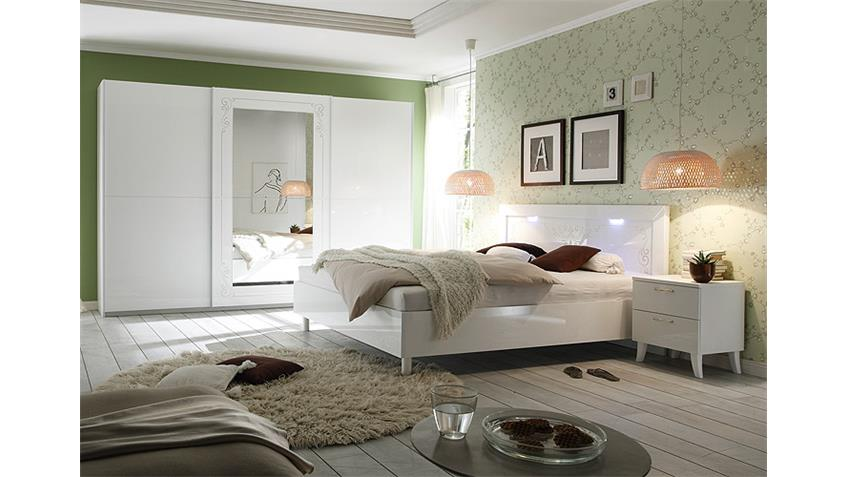 Schlafzimmer-Set MUSA DEA Weiß Hochglanz mit Siebdruck
