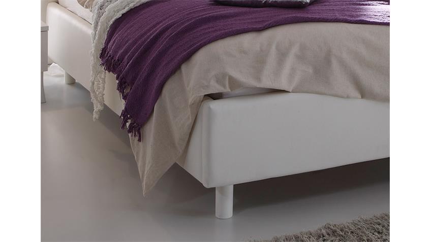 Polsterbett SIBILLA Lederlook Weiß und Siebdruck 180x200 cm