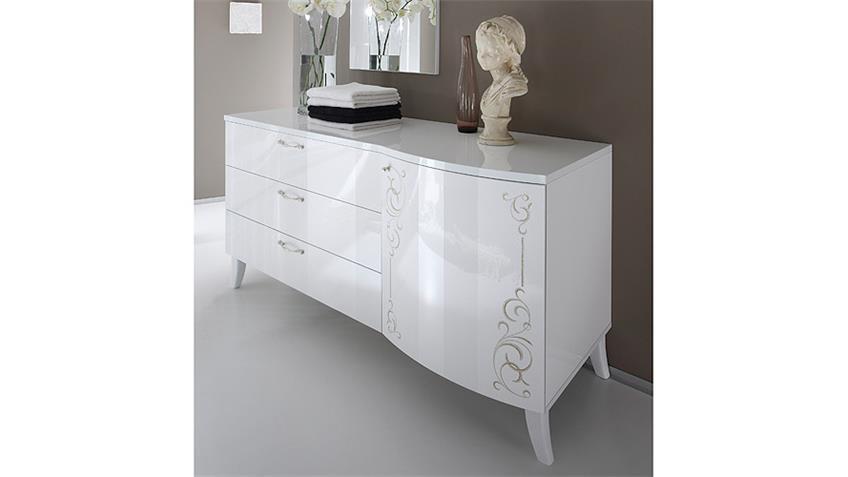 Kommode SIBILLA Sideboard Weiß Hochglanz mit Siebdruck