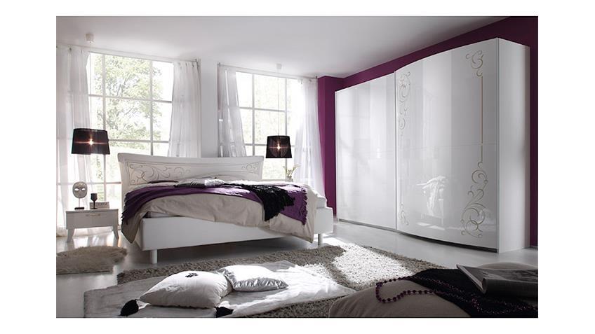 Schlafzimmer-Set SIBILLA Weiß Hochglanz Lederlook Weiß