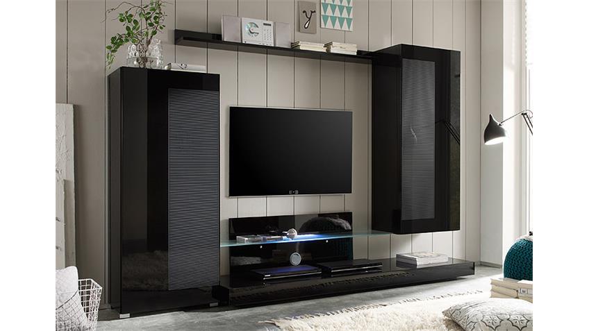Wohnwand LAGO in Schwarz Lack mit Siebdruck B 260 cm