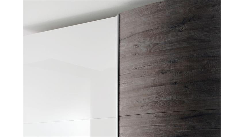 Schwebetürenschrank TAMBURA Weiß Lack Eiche Wenge B 280 cm