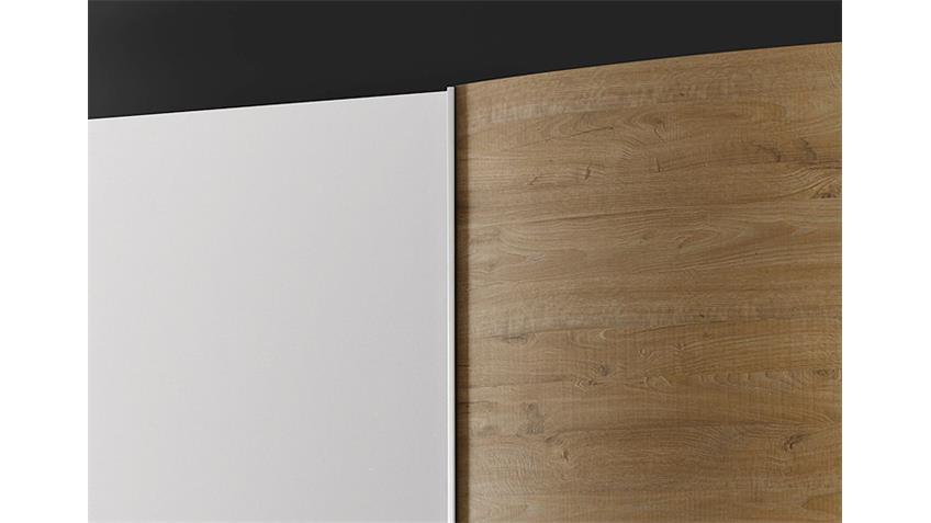 Schwebetürenschrank TAMBURA Weiß Lack Eiche Natur B 280 cm