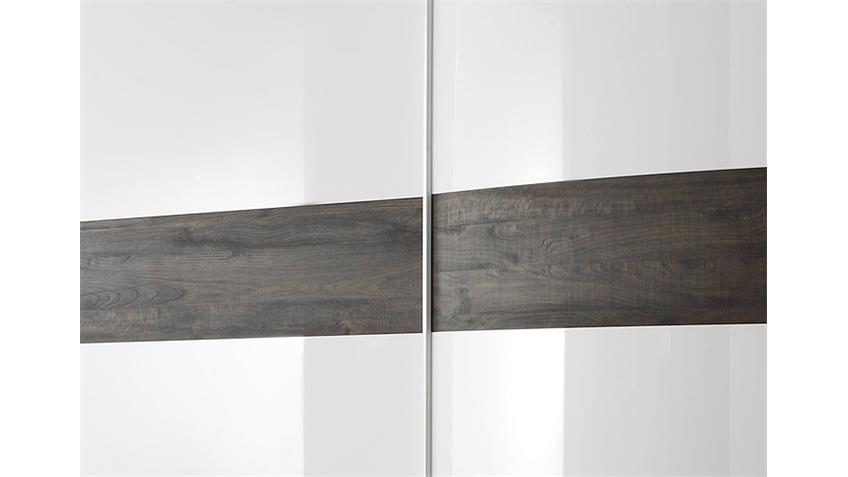 Schwebetürenschrank TAMBURA Lack weiß Abs. Eiche wenge B 280 cm