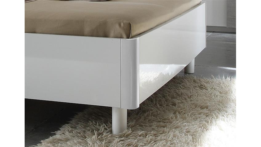 Bettanlage TAMBURA Weiß Lack Eiche Grau 180x200 cm