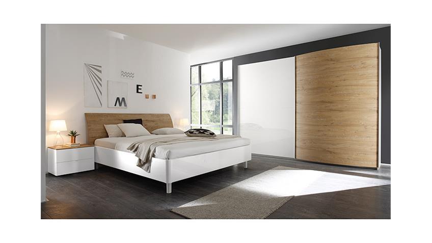 Schlafzimmer-Set 2 TAMBURA Weiß Lack und Eiche Natur